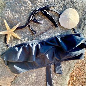 Smoothies black ruffle bikini top small